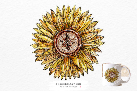 Sunflowers Compass Clipart Graphic Crafts By Chonnieartwork