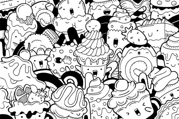 Sweet Dessert Doodle Art Graphic Coloring Pages & Books By medzcreative
