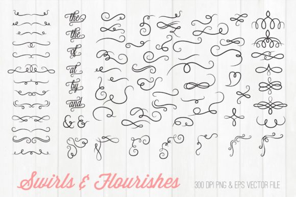Swirls and Flourishes Clipart Graphic Illustrations By peachycottoncandy