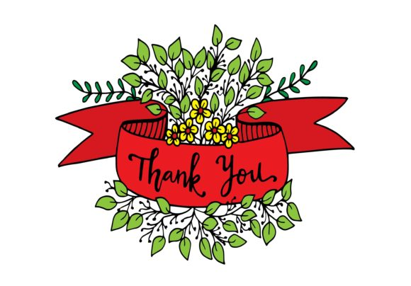 Thank You Text, Handwritten, with Ribbon Graphic Illustrations By Santy Kamal
