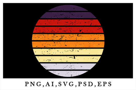 Print on Demand: Vintage Retro Striped Sunset Circle Art Graphic Logos By zerobbat