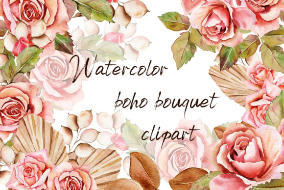 Print on Demand: Watercolor Bouquet Pink Roses Graphic Illustrations By ElenaZlataArt