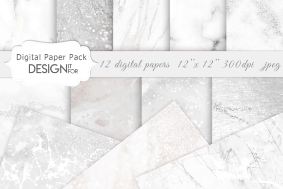 Print on Demand: White Marble Digital Paper Pack, Grey Graphic Textures By DesignItfor