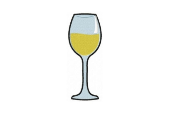 White Wine Glass Wine & Drinks Embroidery Design By Sew Terific Designs