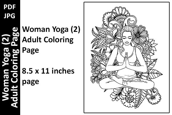 Woman Yoga Nature 2 Adult Coloring Page Graphic Coloring Pages & Books Adults By Oxyp