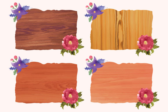 Print on Demand: Wood Backgrounds Vector Set Graphic Backgrounds By DTCreativeLab