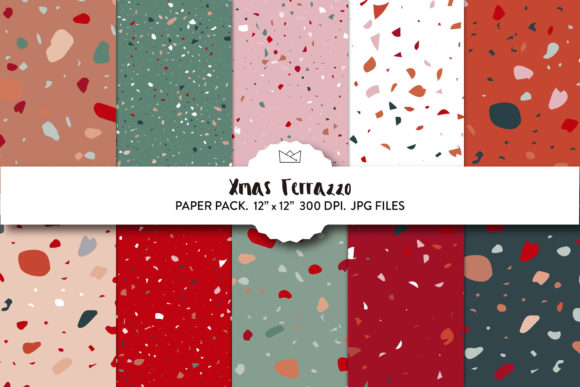 Xmas Terrazzo Wrapping Paper, Terrazzo Graphic Backgrounds By Nina Prints