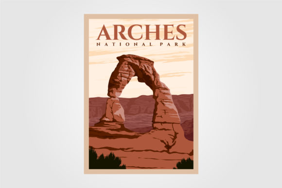 Arches National Park Poster Vintage Graphic Graphic Templates By lawoel