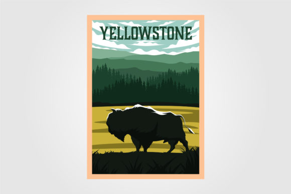 Bison on Yellowstone Poster Vintage Graphic Graphic Templates By lawoel