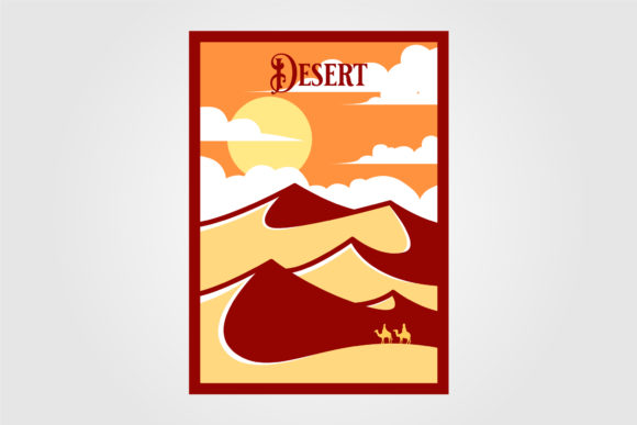 Desert Landscape View Vintage Poster Graphic Graphic Templates By lawoel
