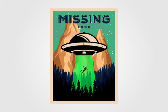 Missing People with Ufo Vector Design Graphic Graphic Templates By lawoel
