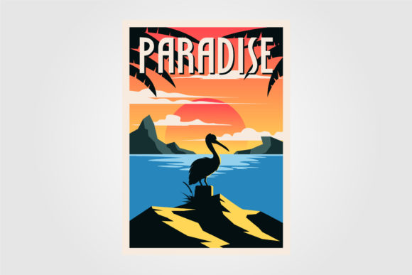 Paradise Beach Vintage Poster Vector Graphic Graphic Templates By lawoel
