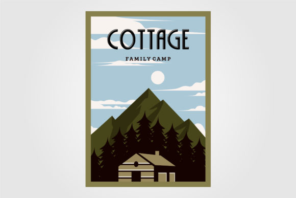Vintage Cabins Poster Vector Design Graphic Graphic Templates By lawoel