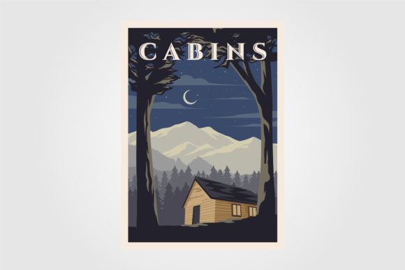 Vintage Cabins Poster Vector Designs Graphic Graphic Templates By lawoel