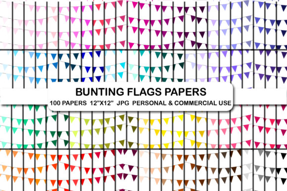 100 Bunting Flags Banners Digital Papers Graphic Backgrounds By bestgraphicsonline
