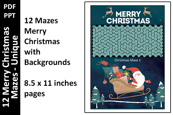 12 Merry Christmas Mazes Unique Activity Graphic KDP Interiors By Oxyp