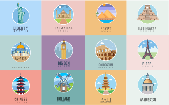 Print on Demand: 12 Travel Landmarks Vector Illustration Graphic Graphic Templates By blueberry 99d