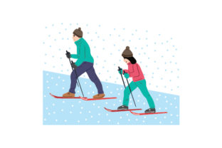 Couple Snowshoeing Winter Craft Cut File By Creative Fabrica Crafts