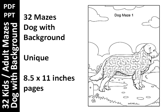 32 Dog Background Mazes - Activity Pages Graphic KDP Interiors By Oxyp
