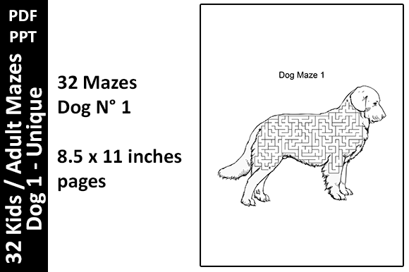 32 Dog Mazes Unique - Activity Pages Graphic KDP Interiors By Oxyp