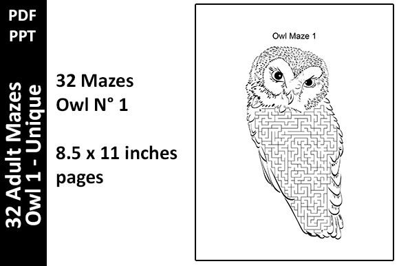 32 Owl Mazes Unique Adult Activity Pages Graphic KDP Interiors By Oxyp