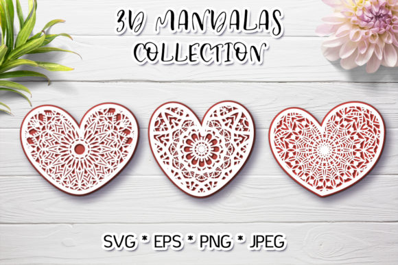 3d Hearts Mandala Svg Graphic 3D SVG By Анна Конева