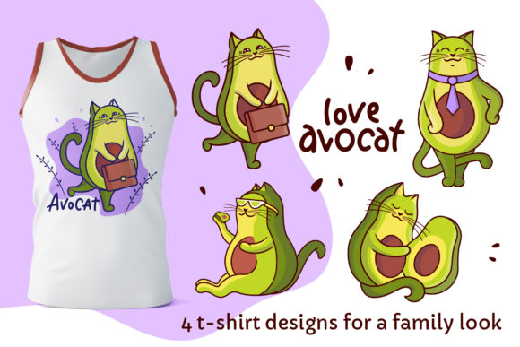 Print on Demand: Avocado Cats. Apparel Designs Graphic Illustrations By lesartbiz