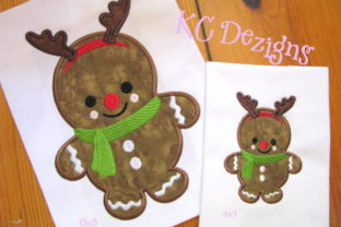 Baby Gingerbread Rudolph Christmas Embroidery Design By karen50