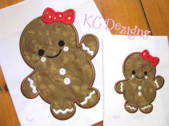 Baby Gingerbread with Bow Christmas Embroidery Design By karen50