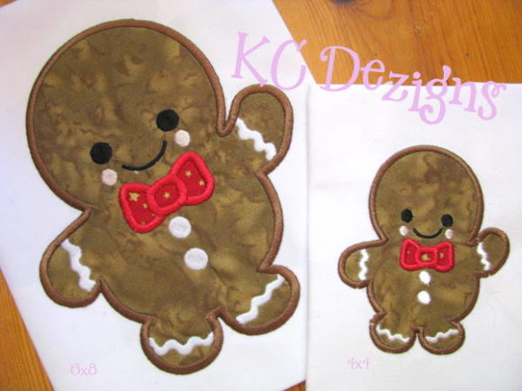 Baby Gingerbread with Bow Tie Christmas Embroidery Design By karen50