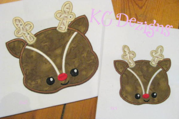 Baby Reindeer Face Applique Christmas Embroidery Design By karen50