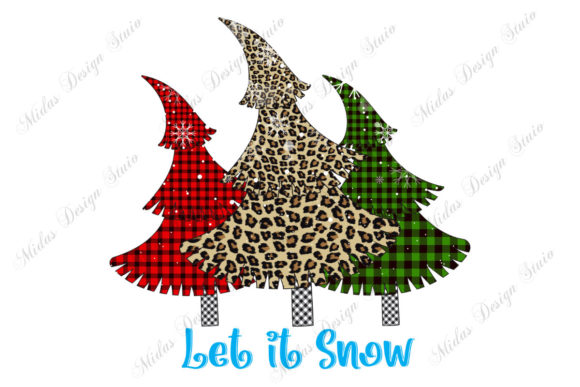 Buffalo Plaid Leopard Christmas Tree Graphic Crafts By MidasStudio
