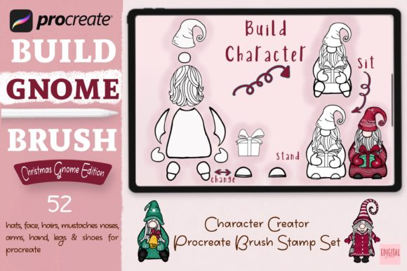 Build Gnome Brush Stamp for Procreate Graphic Brushes By eDigital Studio