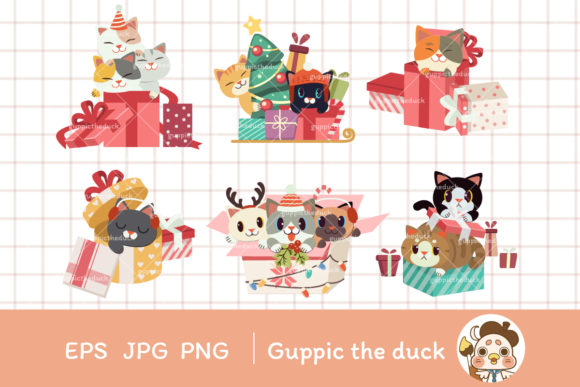 Cat with Giftbox Clipart Graphic Illustrations By Guppic the duck