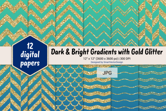 Print on Demand: Chevron, Scales, & Waves - Gradients #22 Graphic Backgrounds By SmartVectorDesign