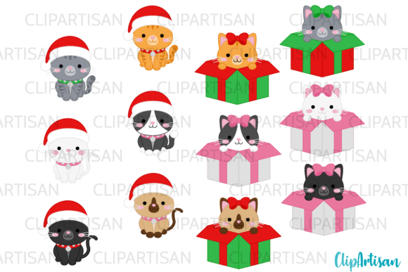 Christmas Cats Clipart Meowy Christmas Graphic Illustrations By ClipArtisan