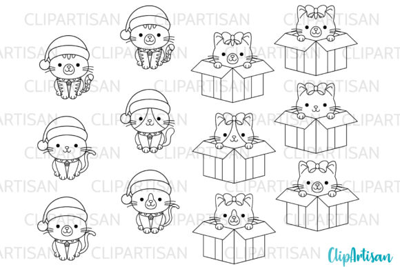 Christmas Cats Clipart Merry Christmas Graphic Illustrations By ClipArtisan