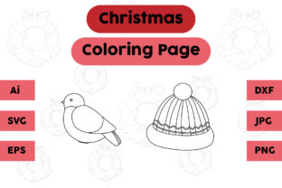 Christmas Coloring Page Bird Hat Set Graphic Coloring Pages & Books Kids By isalsemarang