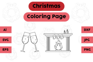 Christmas Coloring Page Fireplace Set Graphic Coloring Pages & Books Kids By isalsemarang