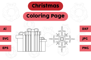 Christmas Coloring Page Gift Snow Set Graphic Coloring Pages & Books Kids By isalsemarang