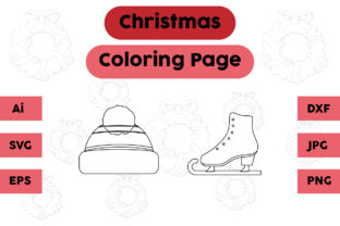 Christmas Coloring Page Hat Shoes Set Graphic Coloring Pages & Books Kids By isalsemarang