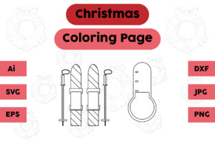 Christmas Coloring Page Ice Skating Set Graphic Coloring Pages & Books Kids By isalsemarang