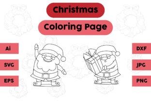 Christmas Coloring Page Santa Claus Set Graphic Coloring Pages & Books Kids By isalsemarang