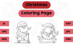 Christmas Coloring Page Santa Claus Sett Graphic Coloring Pages & Books Kids By isalsemarang