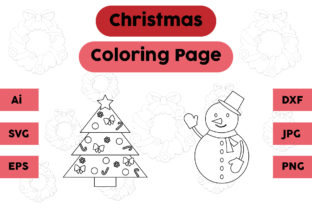 Christmas Coloring Page Tree Snowman Set Graphic Coloring Pages & Books Kids By isalsemarang