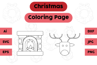 Christmas Coloring Pages Deer Set Graphic Coloring Pages & Books Kids By isalsemarang