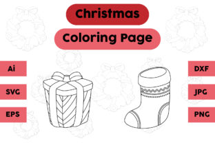 Christmas Coloring Pages Gift Socks Set Graphic Coloring Pages & Books Kids By isalsemarang