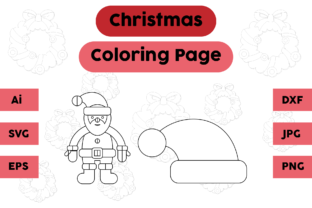 Christmas Coloring Pages Hat Santa Set Graphic Coloring Pages & Books Kids By isalsemarang