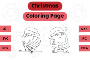 Christmas Coloring Pages Santa Claus Set Graphic Coloring Pages & Books Kids By isalsemarang