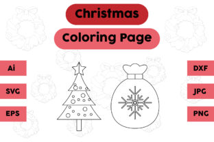 Christmas Coloring Pages Tree Set Graphic Coloring Pages & Books Kids By isalsemarang